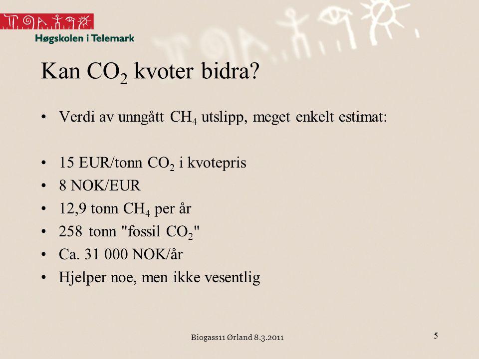 Biogass11 Ørland 8.3.2011 Kan CO 2 kvoter bidra? Verdi av unngått CH 4 utslipp, meget enkelt estimat: 15 EUR/tonn CO 2 i kvotepris 8 NOK/EUR 12,9 tonn
