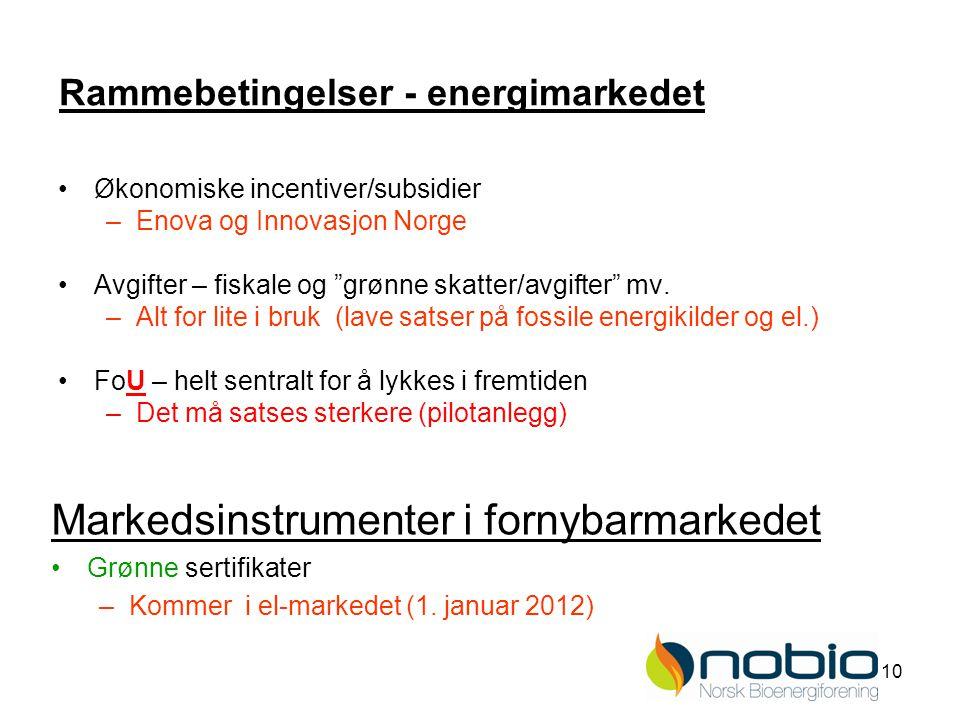 10 Rammebetingelser - energimarkedet Økonomiske incentiver/subsidier –Enova og Innovasjon Norge Avgifter – fiskale og grønne skatter/avgifter mv.