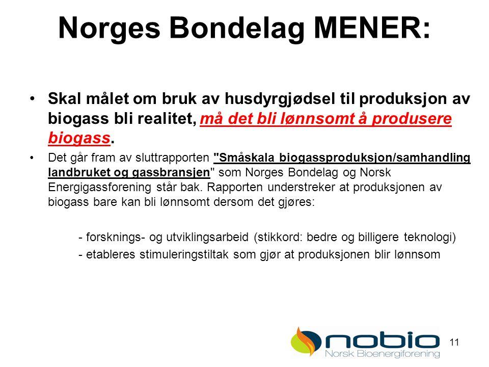 11 Norges Bondelag MENER: Skal målet om bruk av husdyrgjødsel til produksjon av biogass bli realitet, må det bli lønnsomt å produsere biogass.