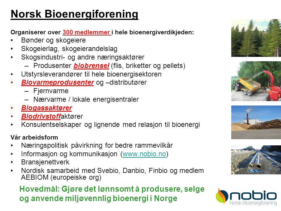 2 Norsk Bioenergiforening Organiserer over 300 medlemmer i hele bioenergiverdikjeden: Bønder og skogeiere Skogeierlag, skogeierandelslag Skogsindustri- og andre næringsaktører –Produsenter biobrensel (flis, briketter og pellets) Utstyrsleverandører til hele bioenergisektoren Biovarmeprodusenter og –distributører –Fjernvarme –Nærvarme / lokale energisentraler Biogassaktører Biodrivstoffaktører Konsulentselskaper og lignende med relasjon til bioenergi Vår arbeidsform Næringspolitisk påvirkning for bedre rammevilkår Informasjon og kommunikasjon (www.nobio.no)www.nobio.no Bransjenettverk Nordisk samarbeid med Svebio, Danbio, Finbio og medlem i AEBIOM (europeiske org) Hovedmål: Gjøre det lønnsomt å produsere, selge og anvende miljøvennlig bioenergi i Norge