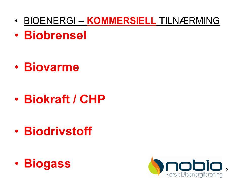 3 BIOENERGI – KOMMERSIELL TILNÆRMING Biobrensel Biovarme Biokraft / CHP Biodrivstoff Biogass