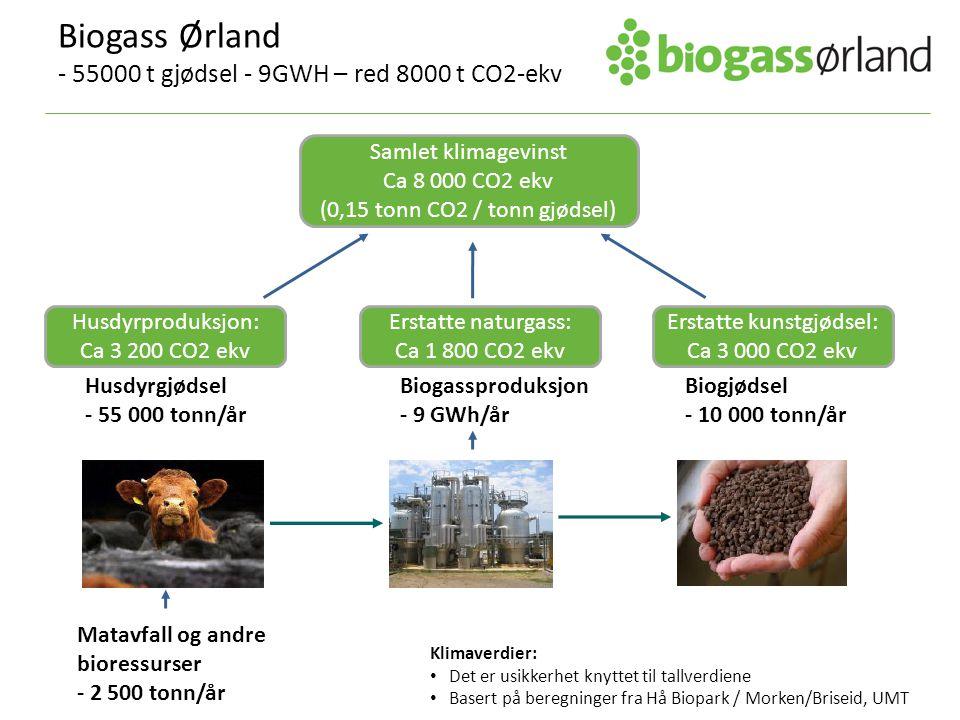 Husdyrgjødsel - 55 000 tonn/år Biogjødsel - 10 000 tonn/år Biogassproduksjon - 9 GWh/år Husdyrproduksjon: Ca 3 200 CO2 ekv Erstatte naturgass: Ca 1 800 CO2 ekv Erstatte kunstgjødsel: Ca 3 000 CO2 ekv Matavfall og andre bioressurser - 2 500 tonn/år Biogass Ørland - 55000 t gjødsel - 9GWH – red 8000 t CO2-ekv Klimaverdier: Det er usikkerhet knyttet til tallverdiene Basert på beregninger fra Hå Biopark / Morken/Briseid, UMT Samlet klimagevinst Ca 8 000 CO2 ekv (0,15 tonn CO2 / tonn gjødsel)