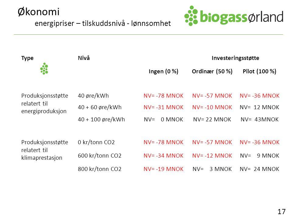 Økonomi energipriser – tilskuddsnivå - lønnsomhet 17 TypeNivåInvesteringsstøtte Ingen (0 %)Ordinær (50 %)Pilot (100 %) Produksjonsstøtte relatert til energiproduksjon 40 øre/kWhNV= -78 MNOKNV= -57 MNOKNV= -36 MNOK 40 + 60 øre/kWhNV= -31 MNOKNV= -10 MNOKNV= 12 MNOK 40 + 100 øre/kWhNV= 0 MNOKNV= 22 MNOKNV= 43MNOK Produksjonsstøtte relatert til klimaprestasjon 0 kr/tonn CO2NV= -78 MNOKNV= -57 MNOKNV= -36 MNOK 600 kr/tonn CO2NV= -34 MNOKNV= -12 MNOKNV= 9 MNOK 800 kr/tonn CO2NV= -19 MNOKNV= 3 MNOKNV= 24 MNOK
