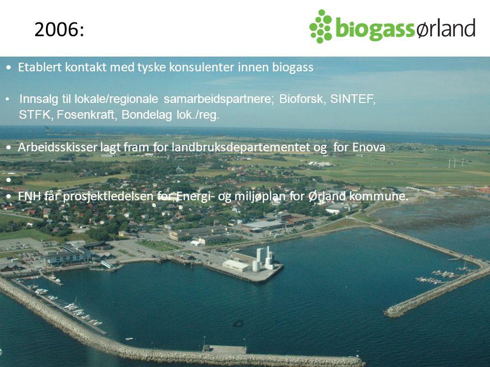 Etablert kontakt med tyske konsulenter innen biogass Innsalg til lokale/regionale samarbeidspartnere; Bioforsk, SINTEF, STFK, Fosenkraft, Bondelag lok./reg.