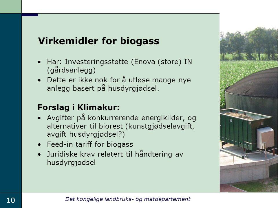 10 Det kongelige landbruks- og matdepartement Virkemidler for biogass Har: Investeringsstøtte (Enova (store) IN (gårdsanlegg) Dette er ikke nok for å