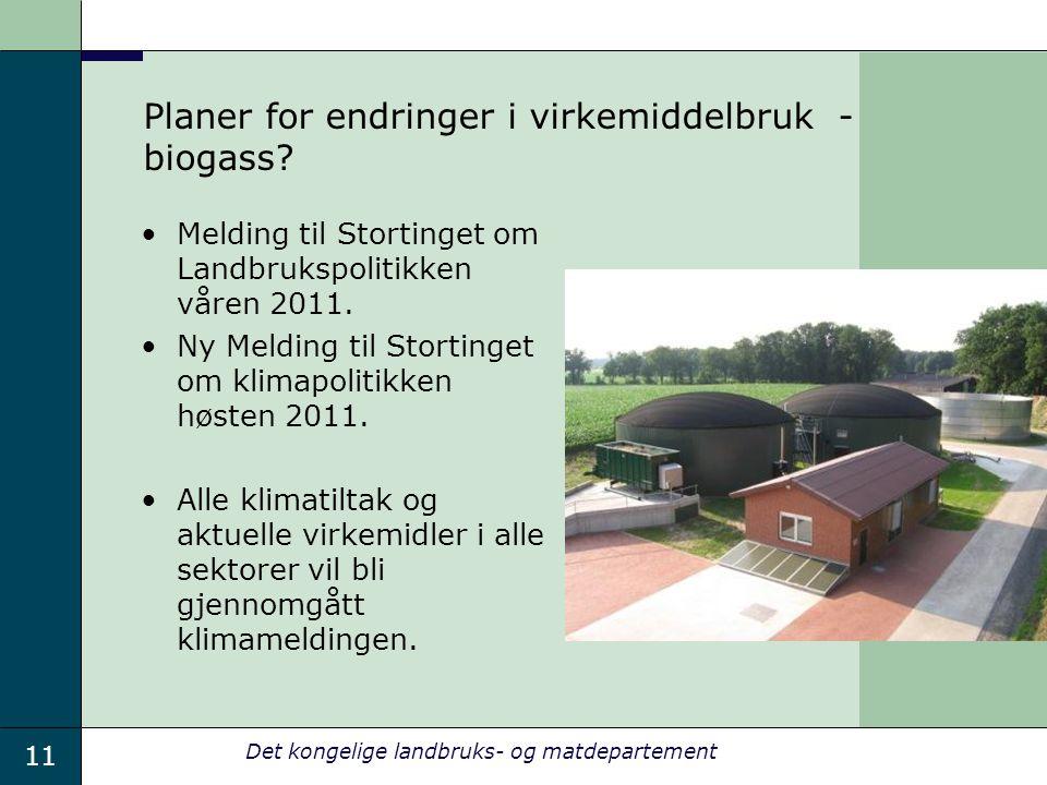 11 Det kongelige landbruks- og matdepartement Planer for endringer i virkemiddelbruk - biogass? Melding til Stortinget om Landbrukspolitikken våren 20