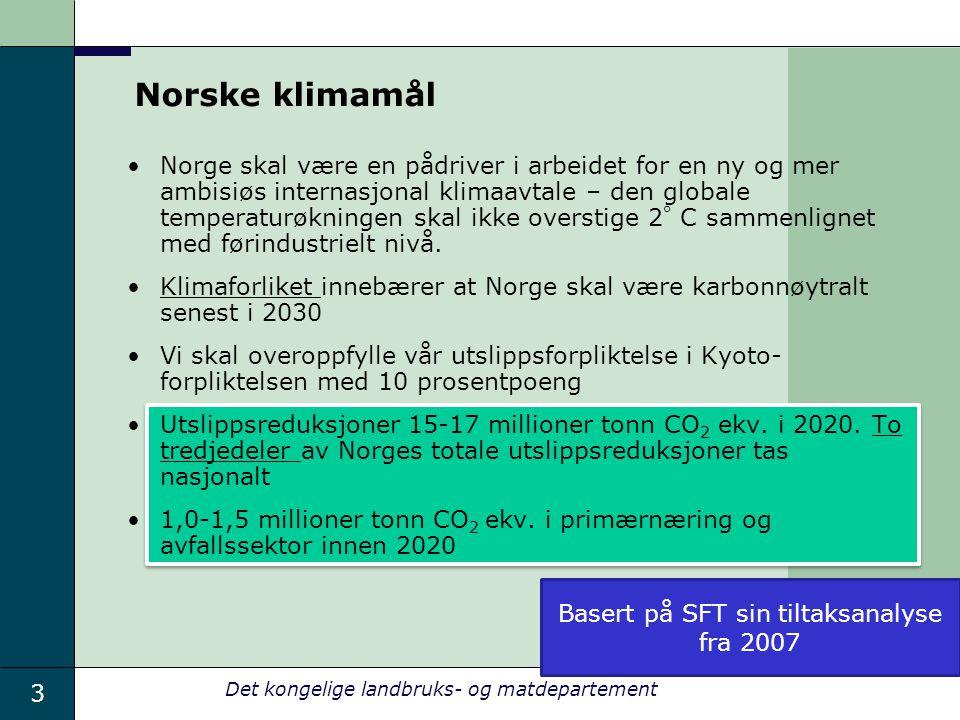3 Det kongelige landbruks- og matdepartement Norske klimamål Norge skal være en pådriver i arbeidet for en ny og mer ambisiøs internasjonal klimaavtal