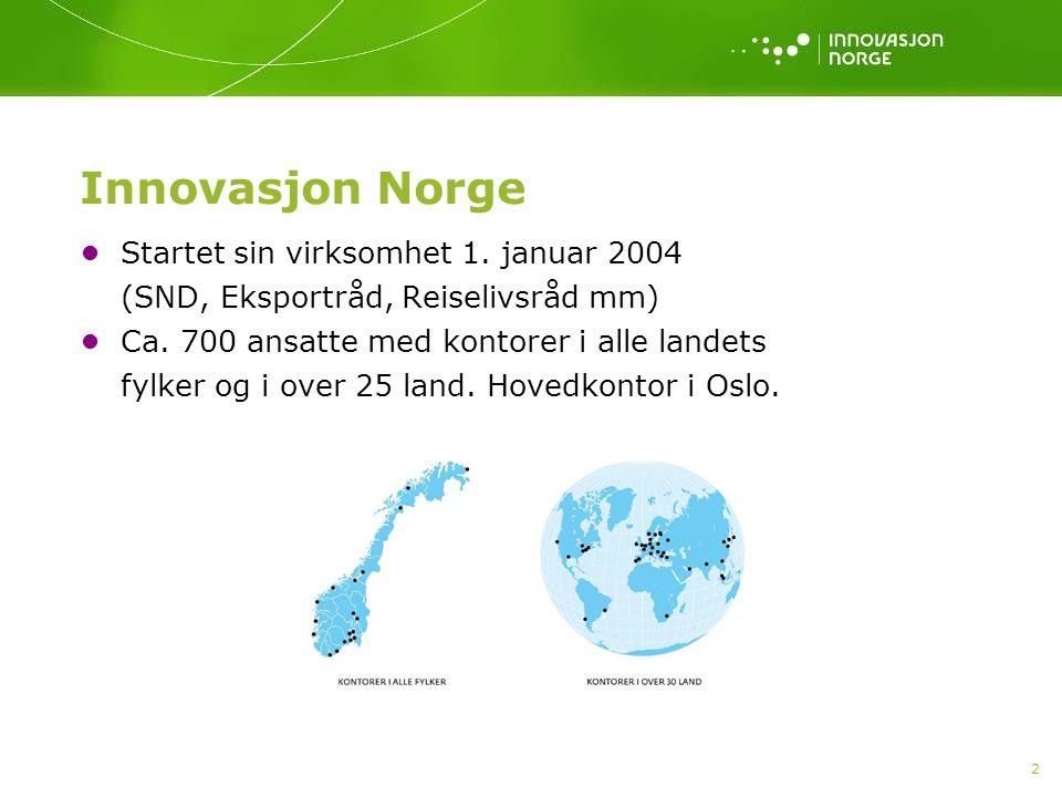 2 Innovasjon Norge Startet sin virksomhet 1. januar 2004 (SND, Eksportråd, Reiselivsråd mm) Ca.