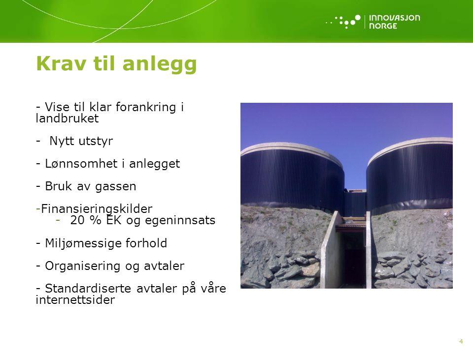 4 Krav til anlegg - Vise til klar forankring i landbruket - Nytt utstyr - Lønnsomhet i anlegget - Bruk av gassen -Finansieringskilder -20 % EK og egeninnsats - Miljømessige forhold - Organisering og avtaler - Standardiserte avtaler på våre internettsider