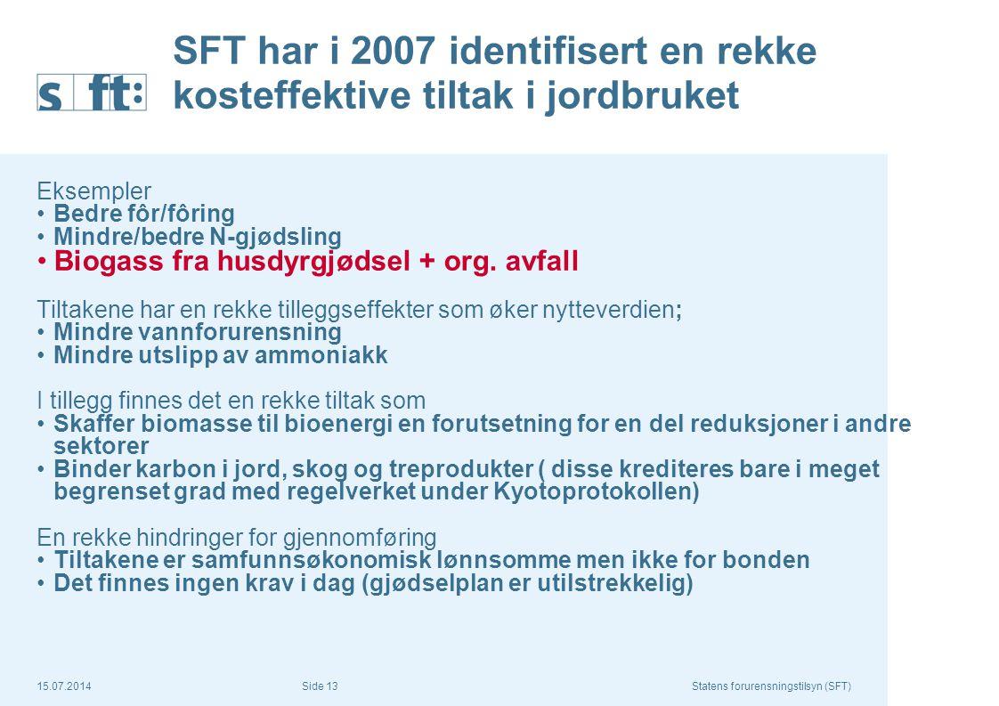15.07.2014Statens forurensningstilsyn (SFT) Side 13 SFT har i 2007 identifisert en rekke kosteffektive tiltak i jordbruket Eksempler Bedre fôr/fôring