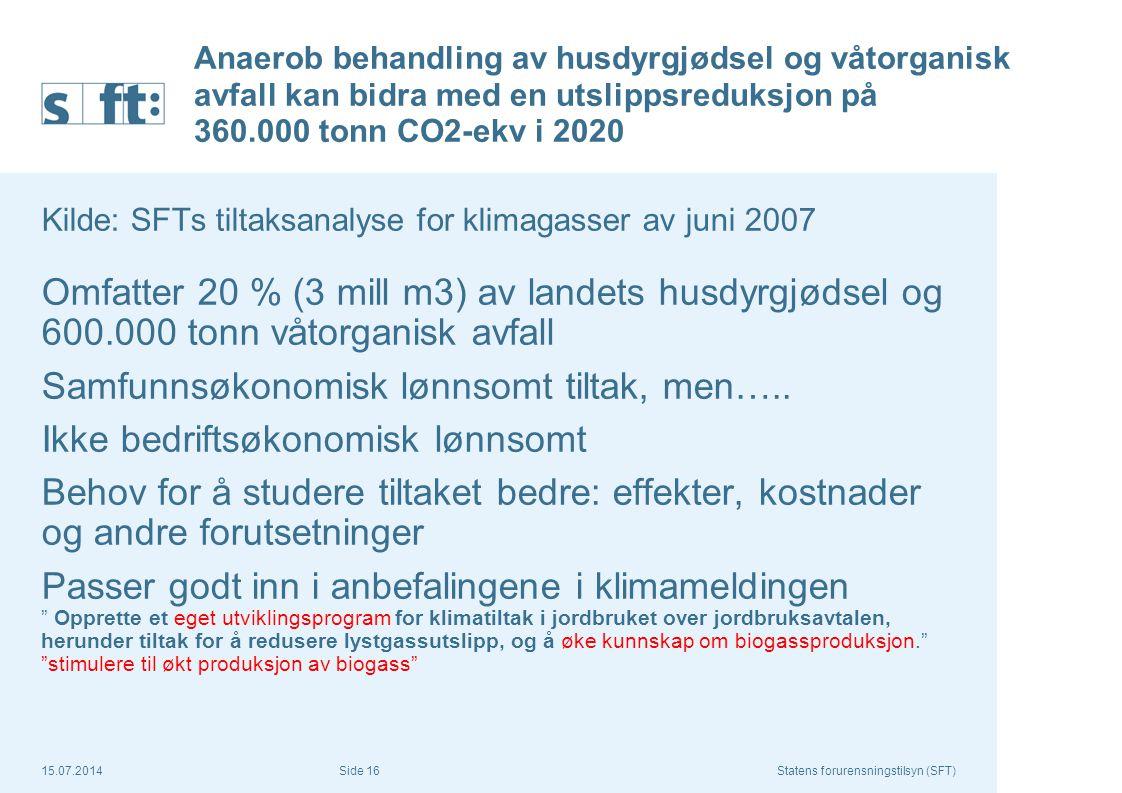 15.07.2014Statens forurensningstilsyn (SFT) Side 16 Anaerob behandling av husdyrgjødsel og våtorganisk avfall kan bidra med en utslippsreduksjon på 36