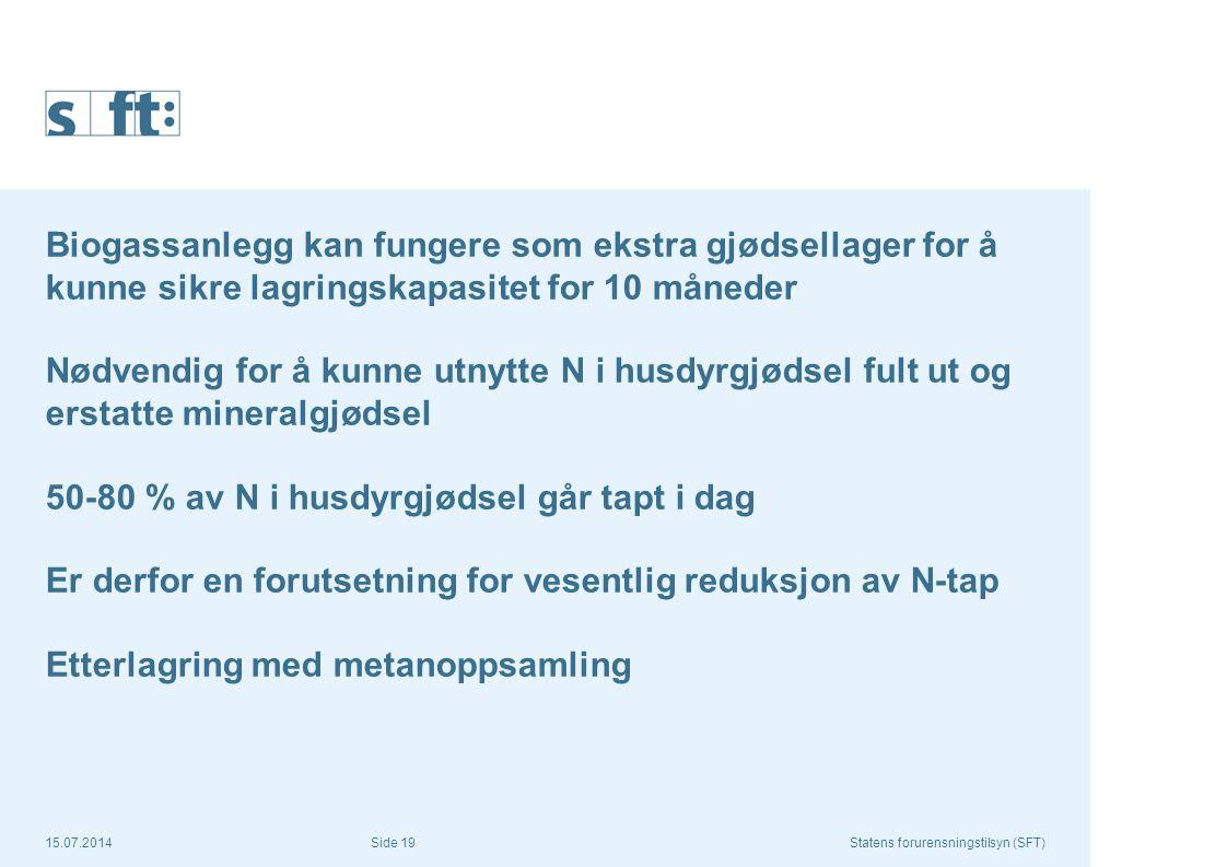 15.07.2014Statens forurensningstilsyn (SFT) Side 19 Biogassanlegg kan fungere som ekstra gjødsellager for å kunne sikre lagringskapasitet for 10 måned