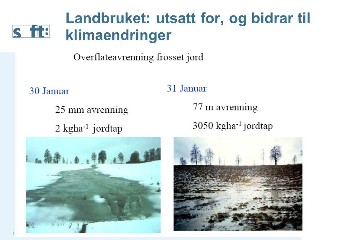 15.07.2014Statens forurensningstilsyn (SFT) Side 2 Landbruket: utsatt for, og bidrar til klimaendringer