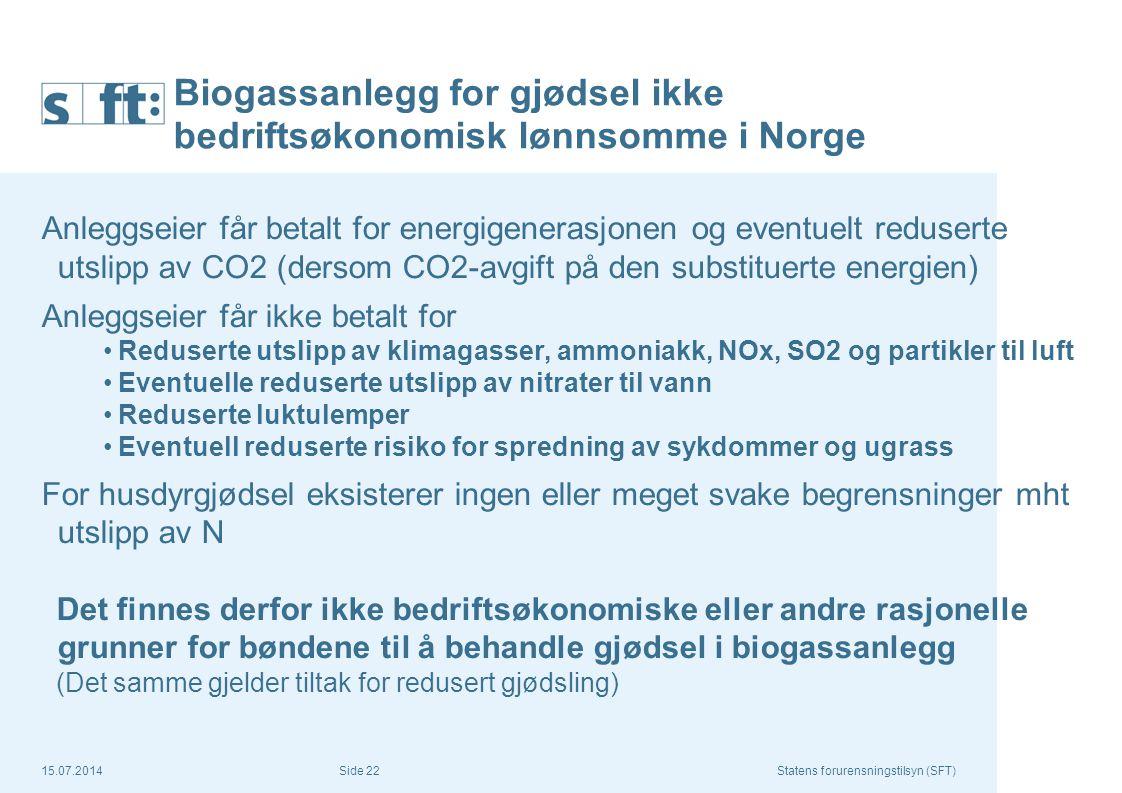 15.07.2014Statens forurensningstilsyn (SFT) Side 22 Biogassanlegg for gjødsel ikke bedriftsøkonomisk lønnsomme i Norge Anleggseier får betalt for ener