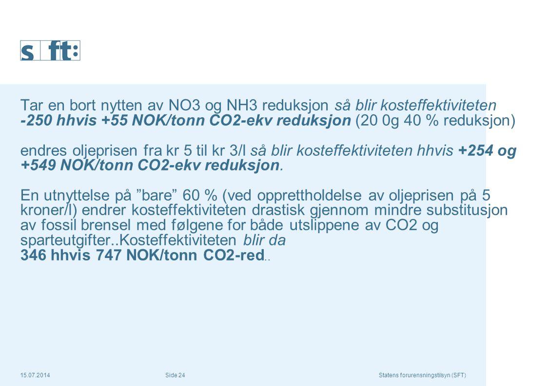 15.07.2014Statens forurensningstilsyn (SFT) Side 24 Tar en bort nytten av NO3 og NH3 reduksjon så blir kosteffektiviteten -250 hhvis +55 NOK/tonn CO2-