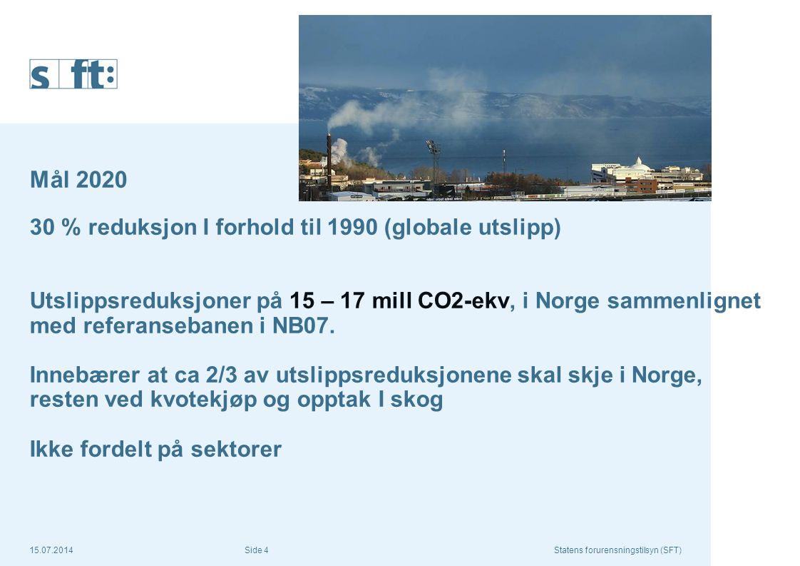 15.07.2014Statens forurensningstilsyn (SFT) Side 4 Mål 2020 30 % reduksjon I forhold til 1990 (globale utslipp) Utslippsreduksjoner på 15 – 17 mill CO