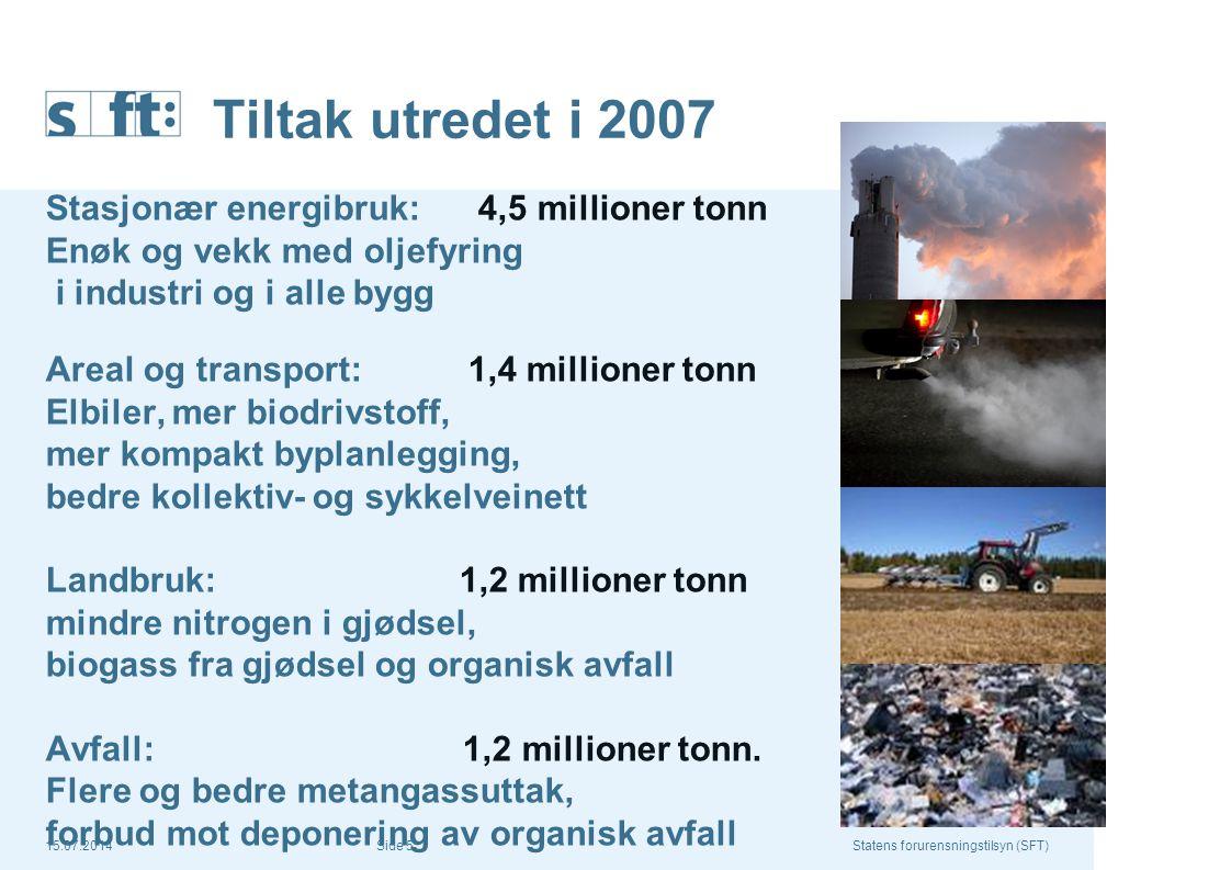 15.07.2014Statens forurensningstilsyn (SFT) Side 16 Anaerob behandling av husdyrgjødsel og våtorganisk avfall kan bidra med en utslippsreduksjon på 360.000 tonn CO2-ekv i 2020 Kilde: SFTs tiltaksanalyse for klimagasser av juni 2007 Omfatter 20 % (3 mill m3) av landets husdyrgjødsel og 600.000 tonn våtorganisk avfall Samfunnsøkonomisk lønnsomt tiltak, men…..