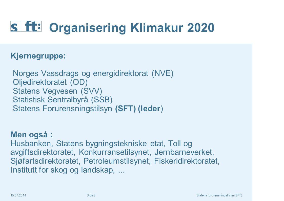 15.07.2014Statens forurensningstilsyn (SFT) Side 8 Organisering Klimakur 2020 Kjernegruppe: Norges Vassdrags og energidirektorat (NVE) Oljedirektorate
