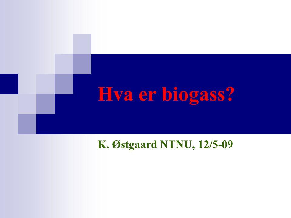 Hva er biogass? K. Østgaard NTNU, 12/5-09