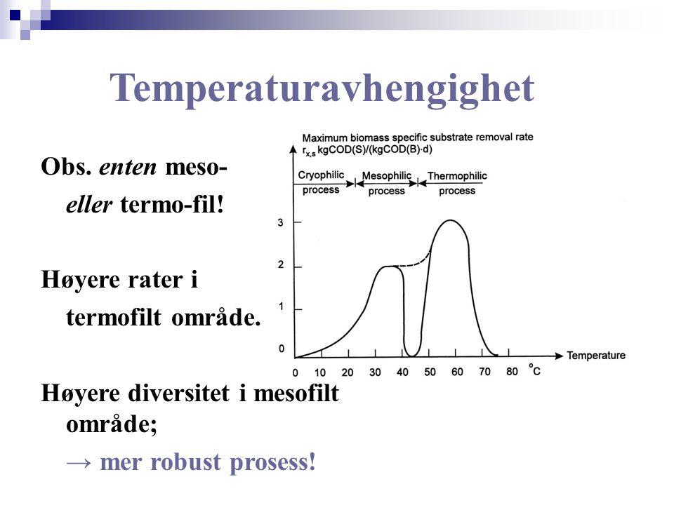 Temperaturavhengighet Obs. enten meso- eller termo-fil! Høyere rater i termofilt område. Høyere diversitet i mesofilt område; → mer robust prosess!