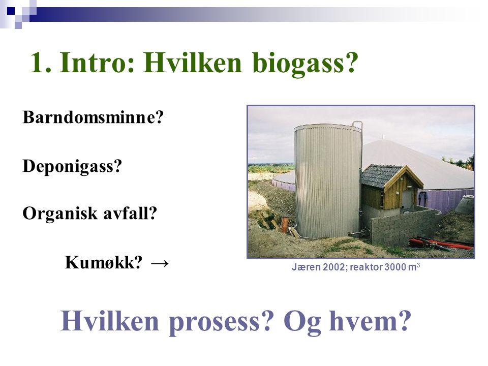 1. Intro: Hvilken biogass? Barndomsminne? Jæren 2002; reaktor 3000 m 3 Deponigass? Organisk avfall? Kumøkk? → Hvilken prosess? Og hvem?