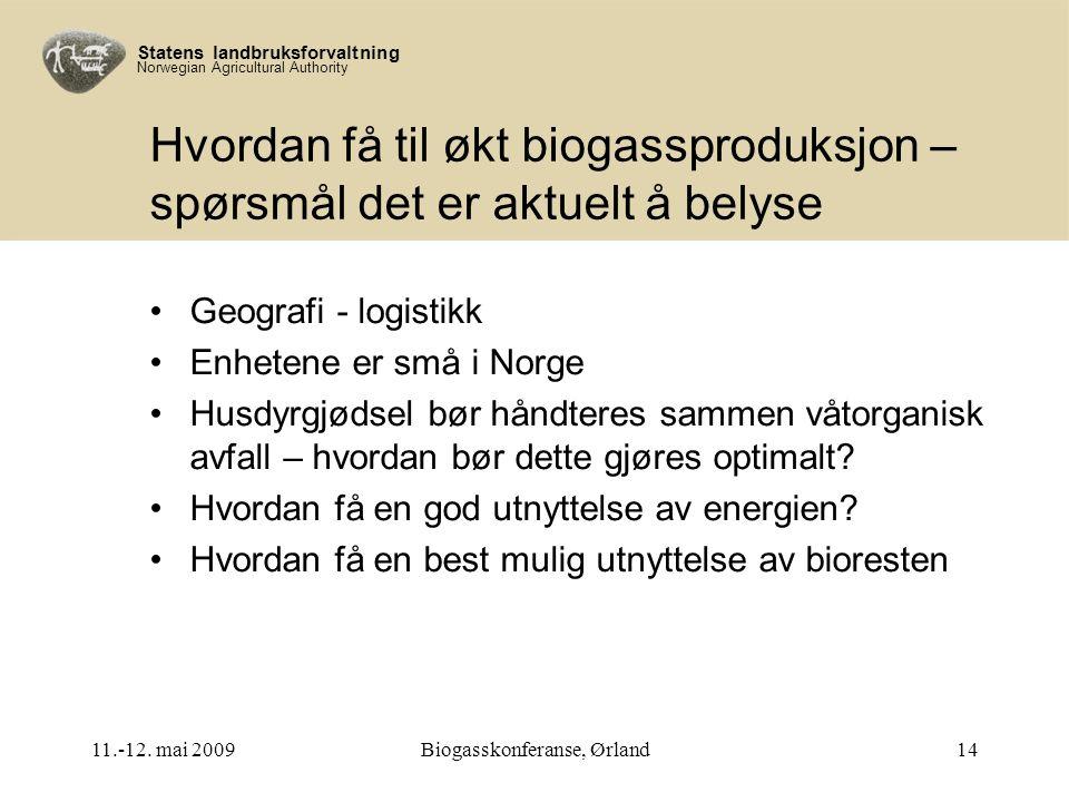 Statens landbruksforvaltning Norwegian Agricultural Authority Hvordan få til økt biogassproduksjon – spørsmål det er aktuelt å belyse Geografi - logistikk Enhetene er små i Norge Husdyrgjødsel bør håndteres sammen våtorganisk avfall – hvordan bør dette gjøres optimalt.