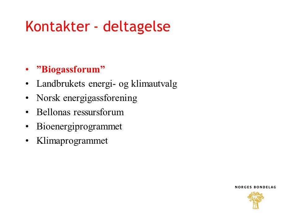 """Kontakter - deltagelse """"Biogassforum"""" Landbrukets energi- og klimautvalg Norsk energigassforening Bellonas ressursforum Bioenergiprogrammet Klimaprogr"""