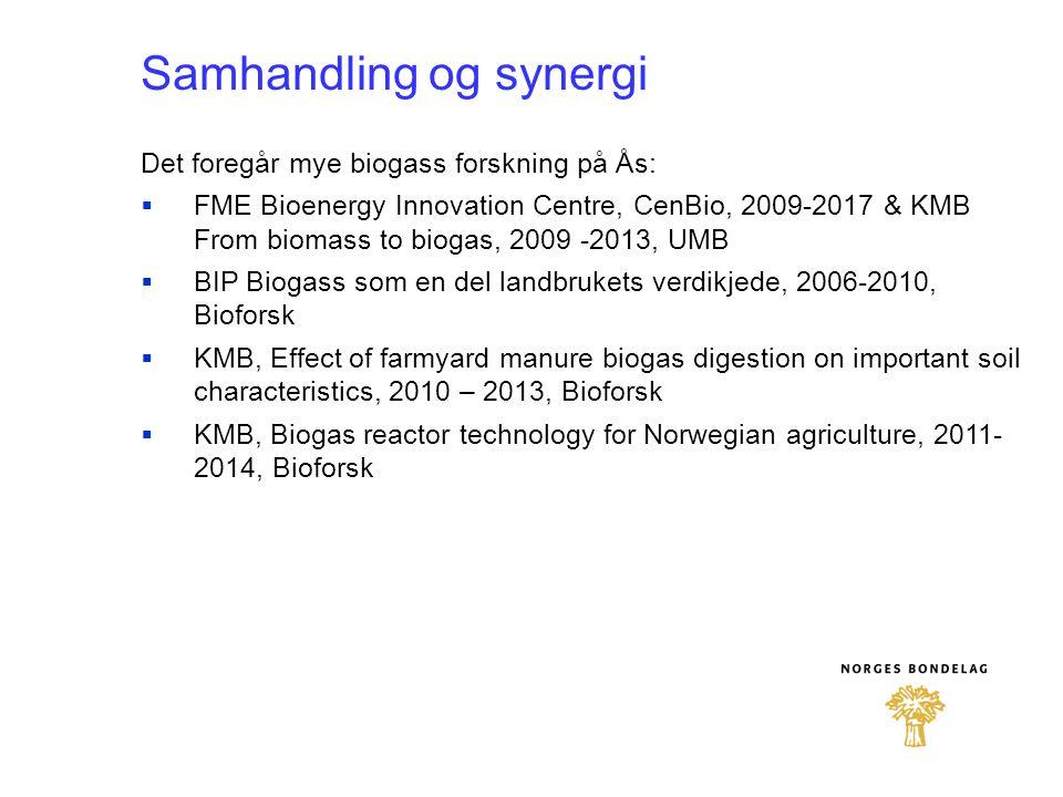 Samhandling og synergi Det foregår mye biogass forskning på Ås:  FME Bioenergy Innovation Centre, CenBio, 2009-2017 & KMB From biomass to biogas, 200