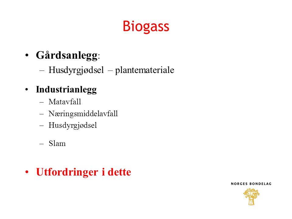 Biogass Gårdsanlegg : –Husdyrgjødsel – plantemateriale Industrianlegg –Matavfall –Næringsmiddelavfall –Husdyrgjødsel –Slam Utfordringer i dette
