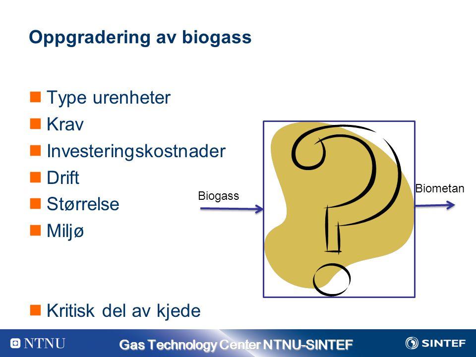 Gas Technology Center NTNU-SINTEF Oppgradering av biogass Type urenheter Krav Investeringskostnader Drift Størrelse Miljø Kritisk del av kjede Biogass Biometan