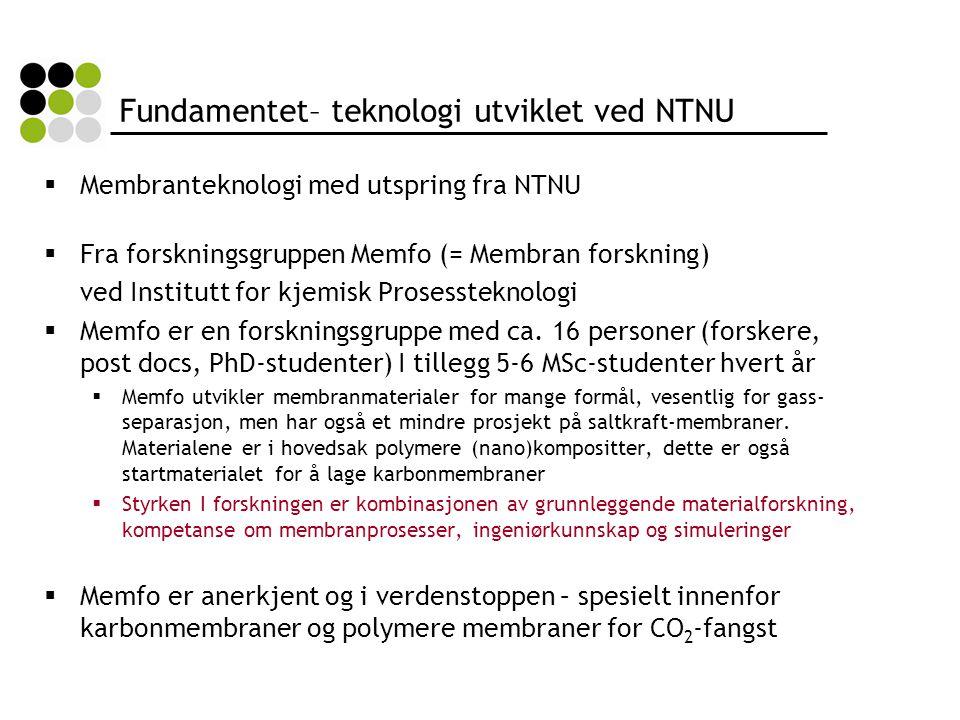 Fundamentet– teknologi utviklet ved NTNU  Membranteknologi med utspring fra NTNU  Fra forskningsgruppen Memfo (= Membran forskning) ved Institutt for kjemisk Prosessteknologi  Memfo er en forskningsgruppe med ca.