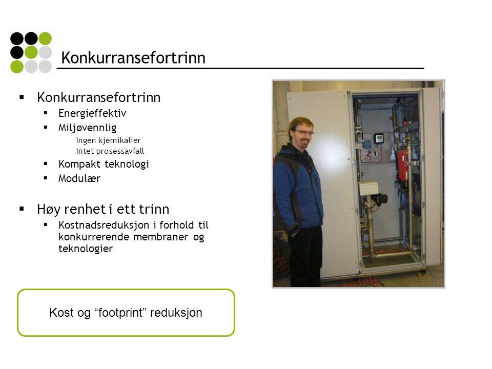 Konkurransefortrinn  Konkurransefortrinn  Energieffektiv  Miljøvennlig Ingen kjemikalier Intet prosessavfall  Kompakt teknologi  Modulær  Høy renhet i ett trinn  Kostnadsreduksjon i forhold til konkurrerende membraner og teknologier Kost og footprint reduksjon