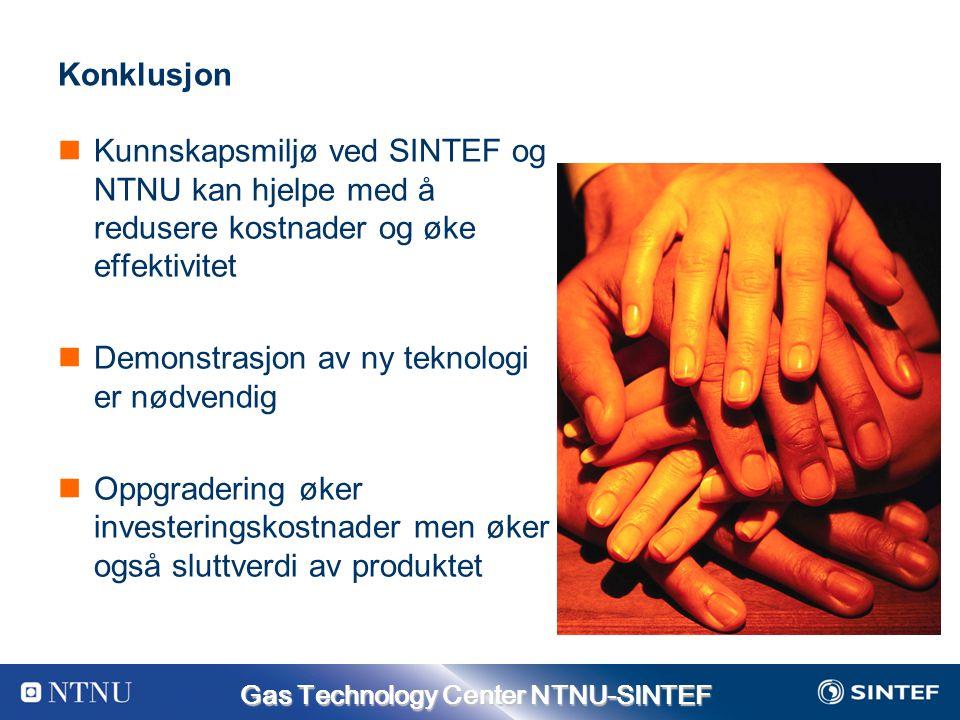 Gas Technology Center NTNU-SINTEF Konklusjon Kunnskapsmiljø ved SINTEF og NTNU kan hjelpe med å redusere kostnader og øke effektivitet Demonstrasjon av ny teknologi er nødvendig Oppgradering øker investeringskostnader men øker også sluttverdi av produktet