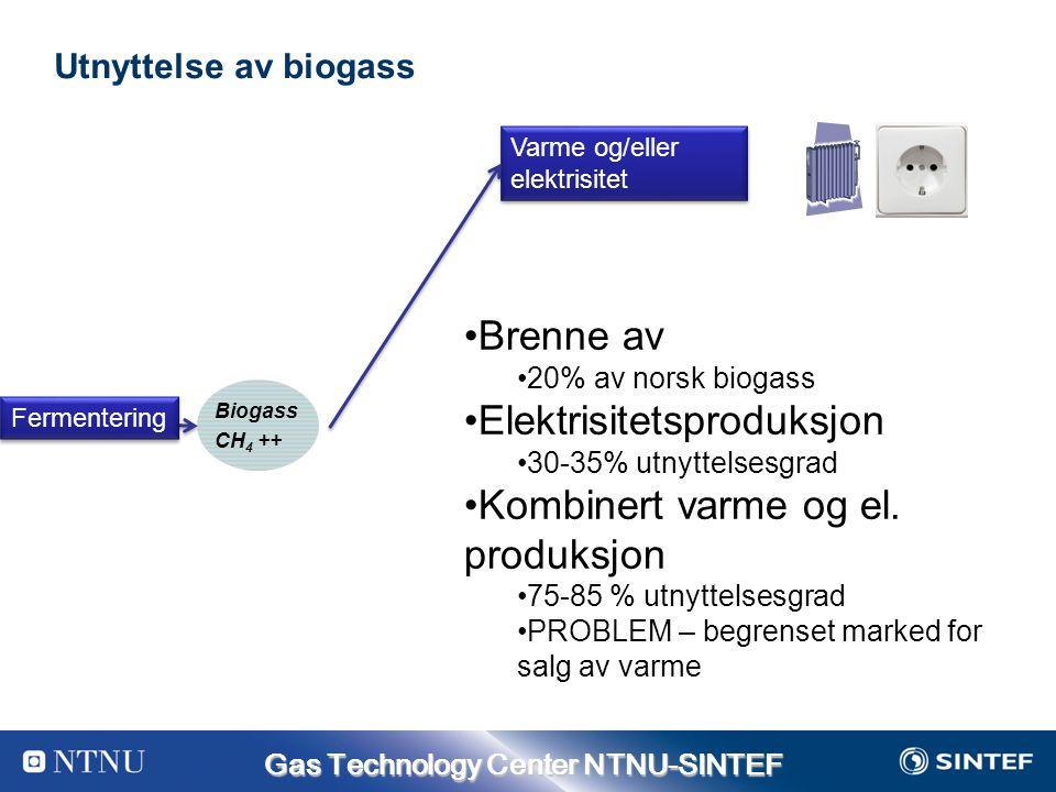 Gas Technology Center NTNU-SINTEF Utnyttelse av biogass Varme og/eller elektrisitet Biogass CH 4 ++ Fermentering Brenne av 20% av norsk biogass Elektrisitetsproduksjon 30-35% utnyttelsesgrad Kombinert varme og el.