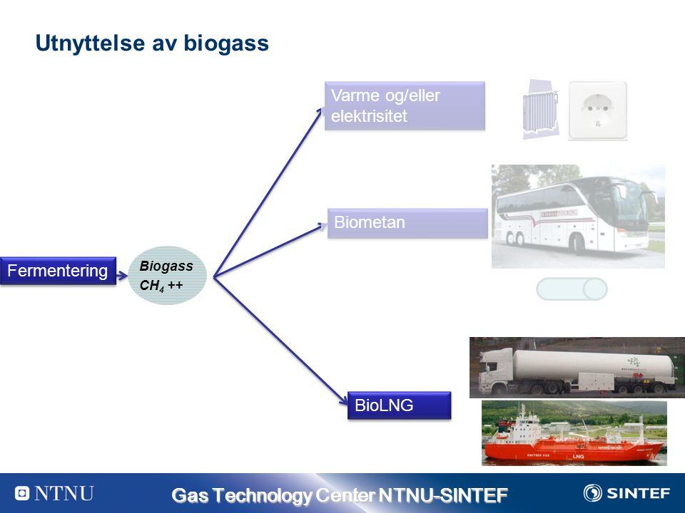 Gas Technology Center NTNU-SINTEF Utnyttelse av biogass Varme og/eller elektrisitet Biometan BioLNG Biogass CH 4 ++ Fermentering