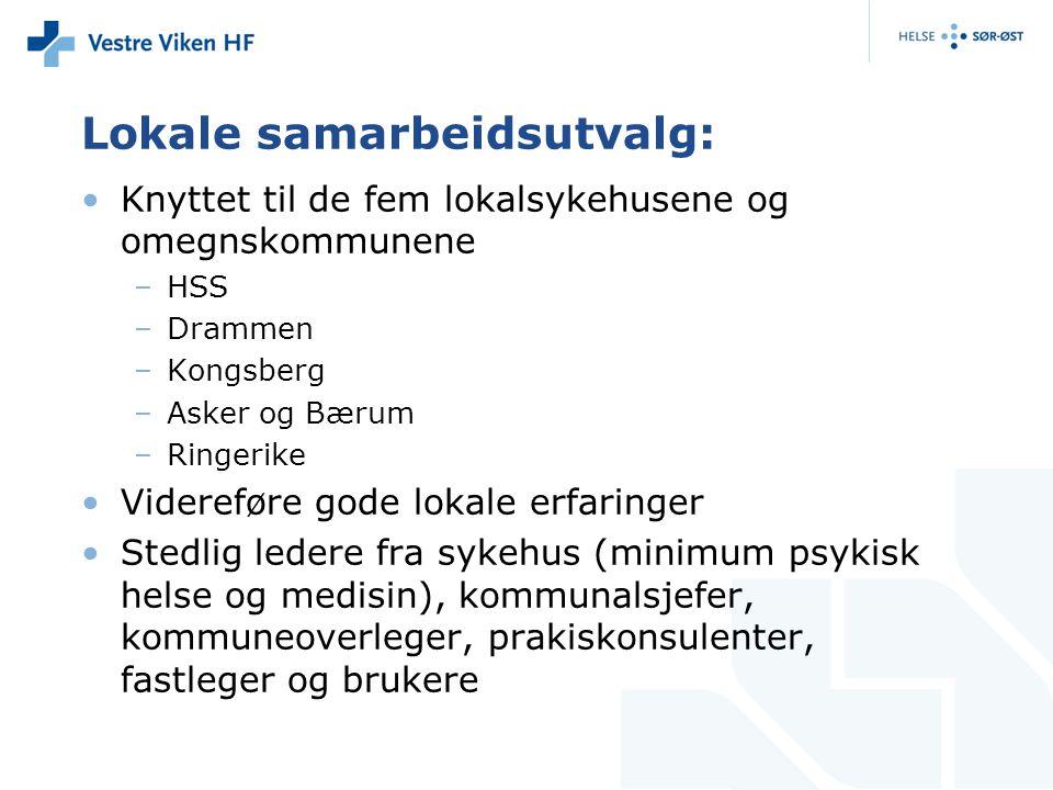 Lokale samarbeidsutvalg: Knyttet til de fem lokalsykehusene og omegnskommunene –HSS –Drammen –Kongsberg –Asker og Bærum –Ringerike Videreføre gode lok