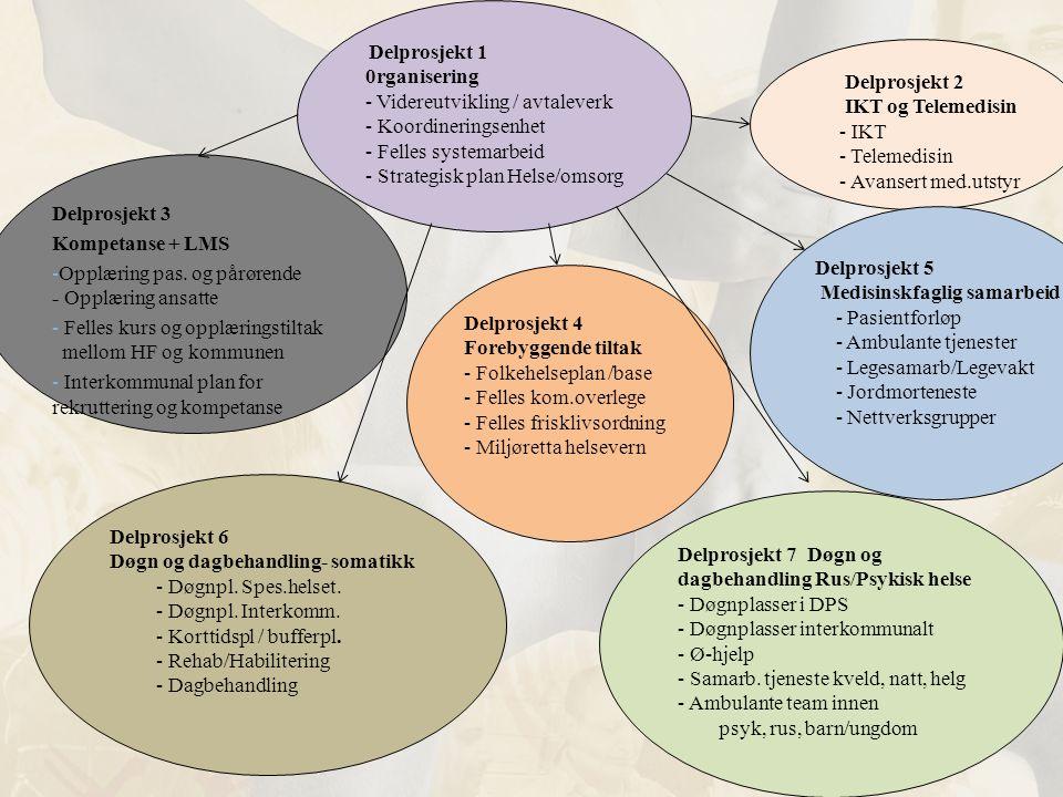 Delprosjekt 2 IKT og Telemedisin - IKT - Telemedisin - Avansert med.utstyr Delprosjekt 6 Døgn og dagbehandling- somatikk - Døgnpl. Spes.helset. - Døgn