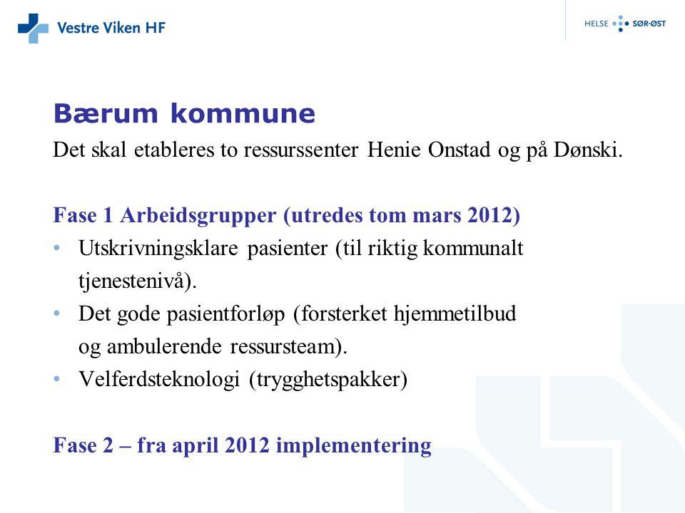 Bærum kommune Det skal etableres to ressurssenter Henie Onstad og på Dønski. Fase 1 Arbeidsgrupper (utredes tom mars 2012) Utskrivningsklare pasienter