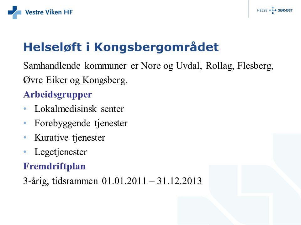 Helseløft i Kongsbergområdet Samhandlende kommuner er Nore og Uvdal, Rollag, Flesberg, Øvre Eiker og Kongsberg. Arbeidsgrupper Lokalmedisinsk senter F