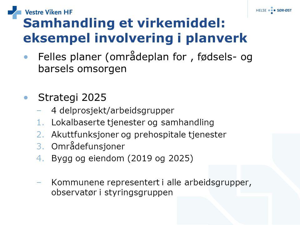 Samhandling et virkemiddel: eksempel involvering i planverk Felles planer (områdeplan for, fødsels- og barsels omsorgen Strategi 2025 –4 delprosjekt/a