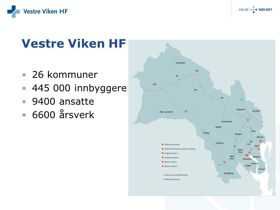 Vestre Viken HF 26 kommuner 445 000 innbyggere 9400 ansatte 6600 årsverk