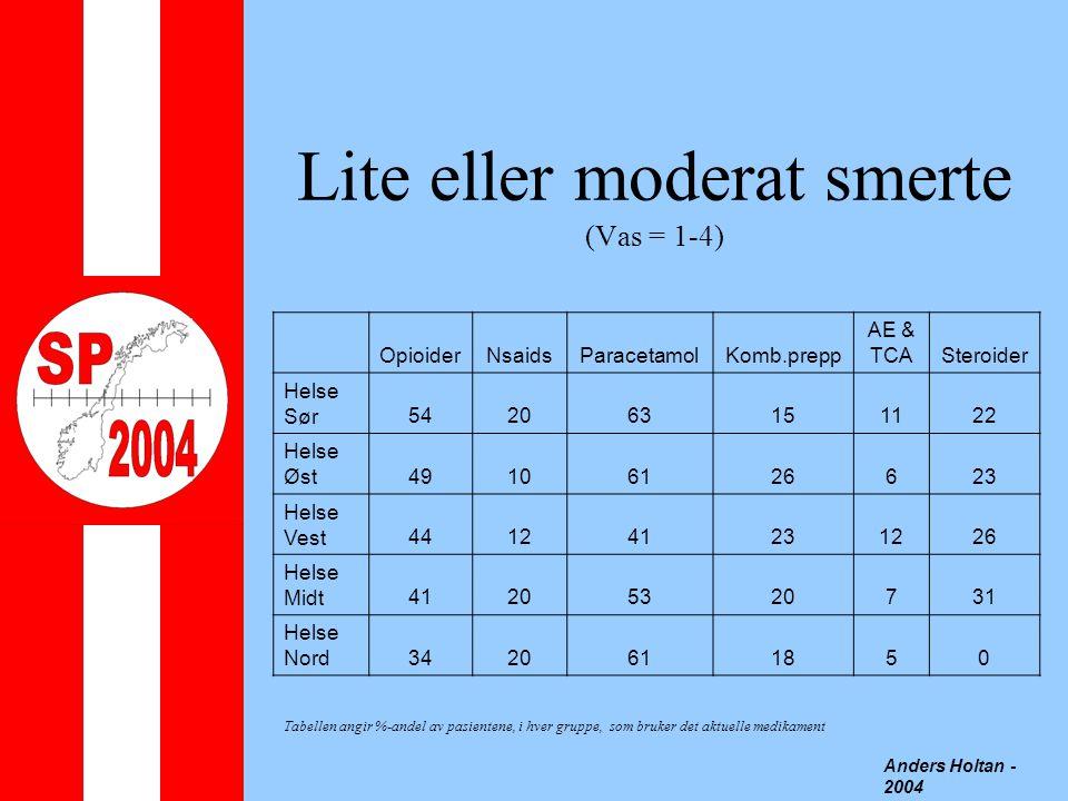 Lite eller moderat smerte (Vas = 1-4) Anders Holtan - 2004 OpioiderNsaidsParacetamolKomb.prepp AE & TCASteroider Helse Sør542063151122 Helse Øst49106126623 Helse Vest441241231226 Helse Midt41205320731 Helse Nord3420611850 Tabellen angir %-andel av pasientene, i hver gruppe, som bruker det aktuelle medikament