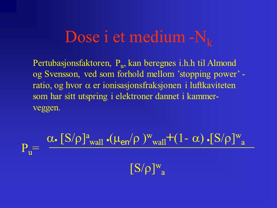 Dose i et medium -N k    S  ] a wall    en  w wall + (1-    S  ] w a  S  ] w a Pu=Pu= Pertubasjonsfaktoren, P u, kan beregnes i.h.h til Almond og Svensson, ved som forhold mellom 'stopping power' - ratio, og hvor  er ionisasjonsfraksjonen i luftkaviteten som har sitt utspring i elektroner dannet i kammer- veggen.