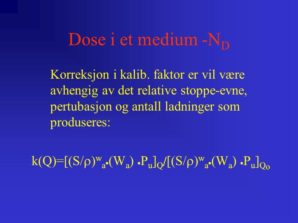 Dose i et medium -N D Korreksjon i kalib.