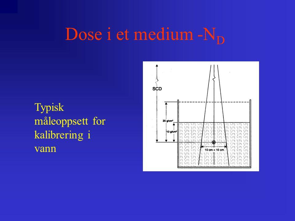 Dose i et medium -N D Typisk måleoppsett for kalibrering i vann