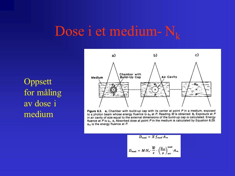 Dose i et medium- N k Bragg-Gray-teori antar: –at kaviteten er så vidt liten at den ikke påvirker det antall elektroner som eksisterer i volumet ved at den introduseres –D m  J a  (W/e)   S  m  S  a = J a  (W/e)   S  a m ; hvor  S  a m er midlere stoppe-evne ( stopping power ) for luft relativt til vann, og J a  (W/e) er energien som er absorbert i en enhetsvolum i kaviteten.