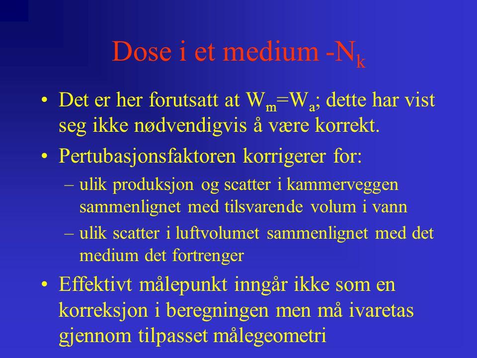 Dose i et medium -N k D a  a  (1-g)  k att  k m k att tar hensyn til attenuasjon og scatter i kammermaterialet k m tar hensyn til manglende luft-ekvivalens i kammermaterialet:  k m =  S  ] a m    en  a m