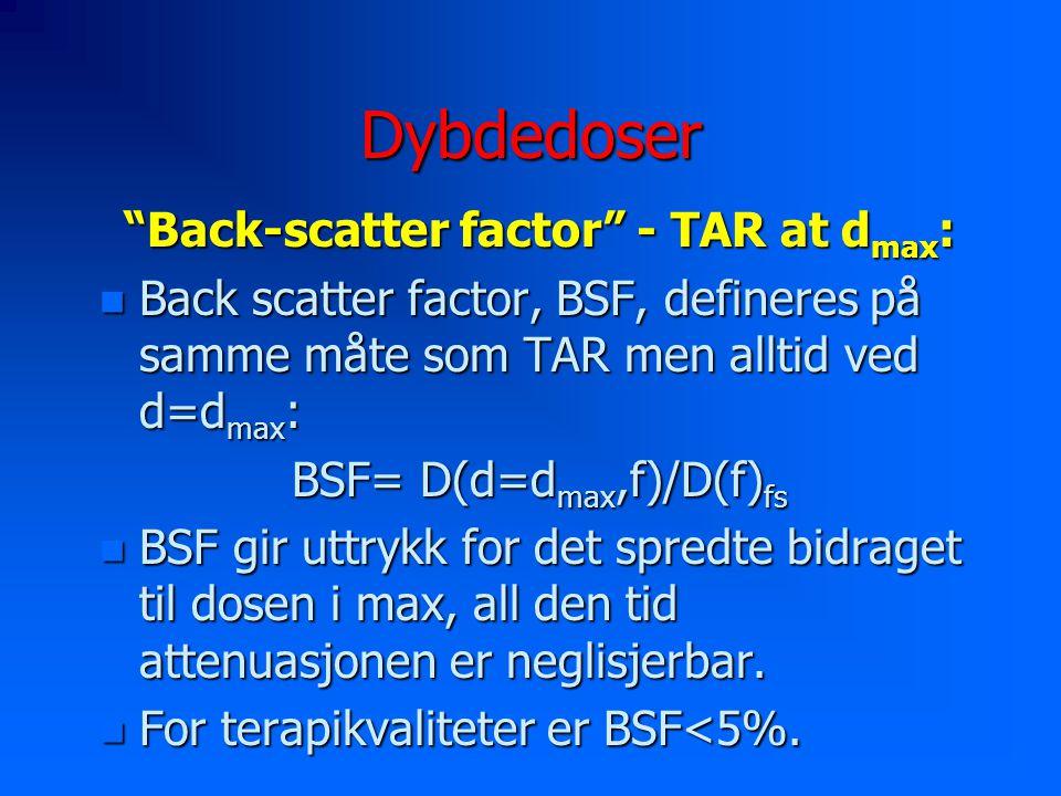 Dybdedoser Back-scatter factor - TAR at d max : n Back scatter factor, BSF, defineres på samme måte som TAR men alltid ved d=d max : BSF= D(d=d max,f)/D(f) fs n BSF gir uttrykk for det spredte bidraget til dosen i max, all den tid attenuasjonen er neglisjerbar.