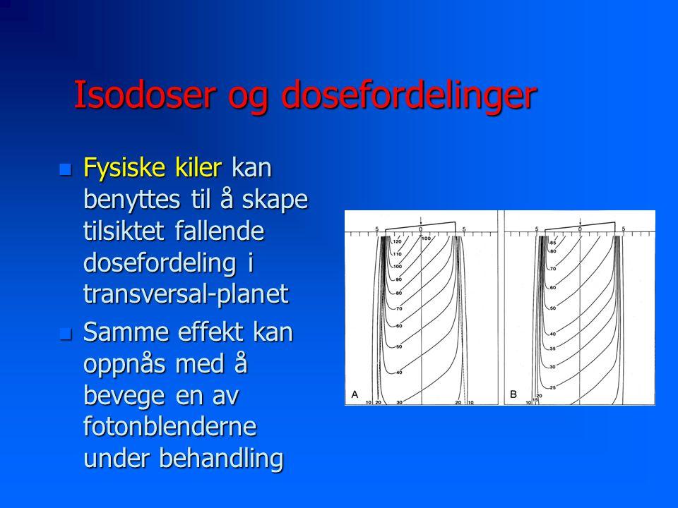 Isodoser og dosefordelinger n Fysiske kiler kan benyttes til å skape tilsiktet fallende dosefordeling i transversal-planet n Samme effekt kan oppnås med å bevege en av fotonblenderne under behandling