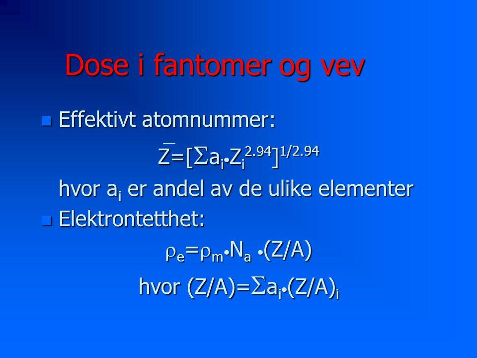 Dose i fantomer og vev n Effektivt atomnummer: Z=[  a i Z i 2.94 ] 1/2.94 hvor a i er andel av de ulike elementer n Elektrontetthet:  e =  m N a (Z/A) hvor (Z/A)=  a i (Z/A) i